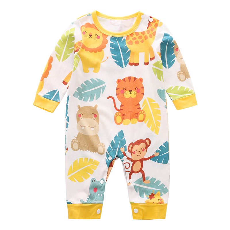 YiErYing Newborn Clothing Baby Boy Girl Rompers Cartoon Animals Printing 100 Cotton Long Sleeve Infant Pajamas Kids Clothing in Rompers from Mother Kids