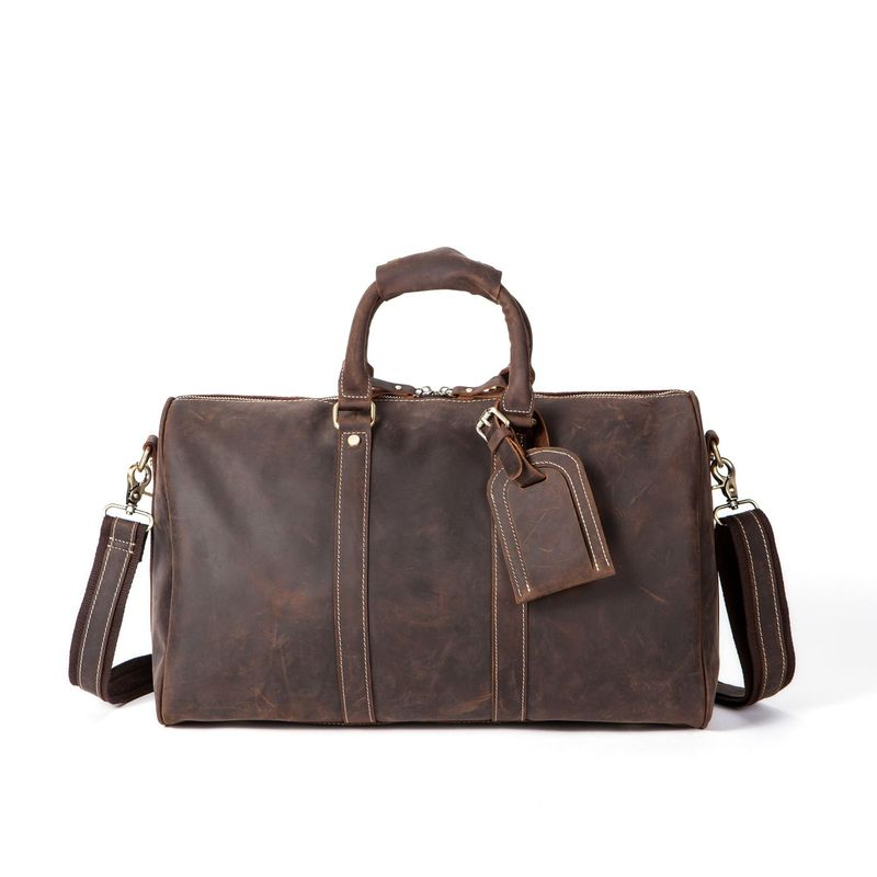 Men's vintage Genuine Leather handbags crazy horse leather men's retro travel bag large-capacity trip luggage bag