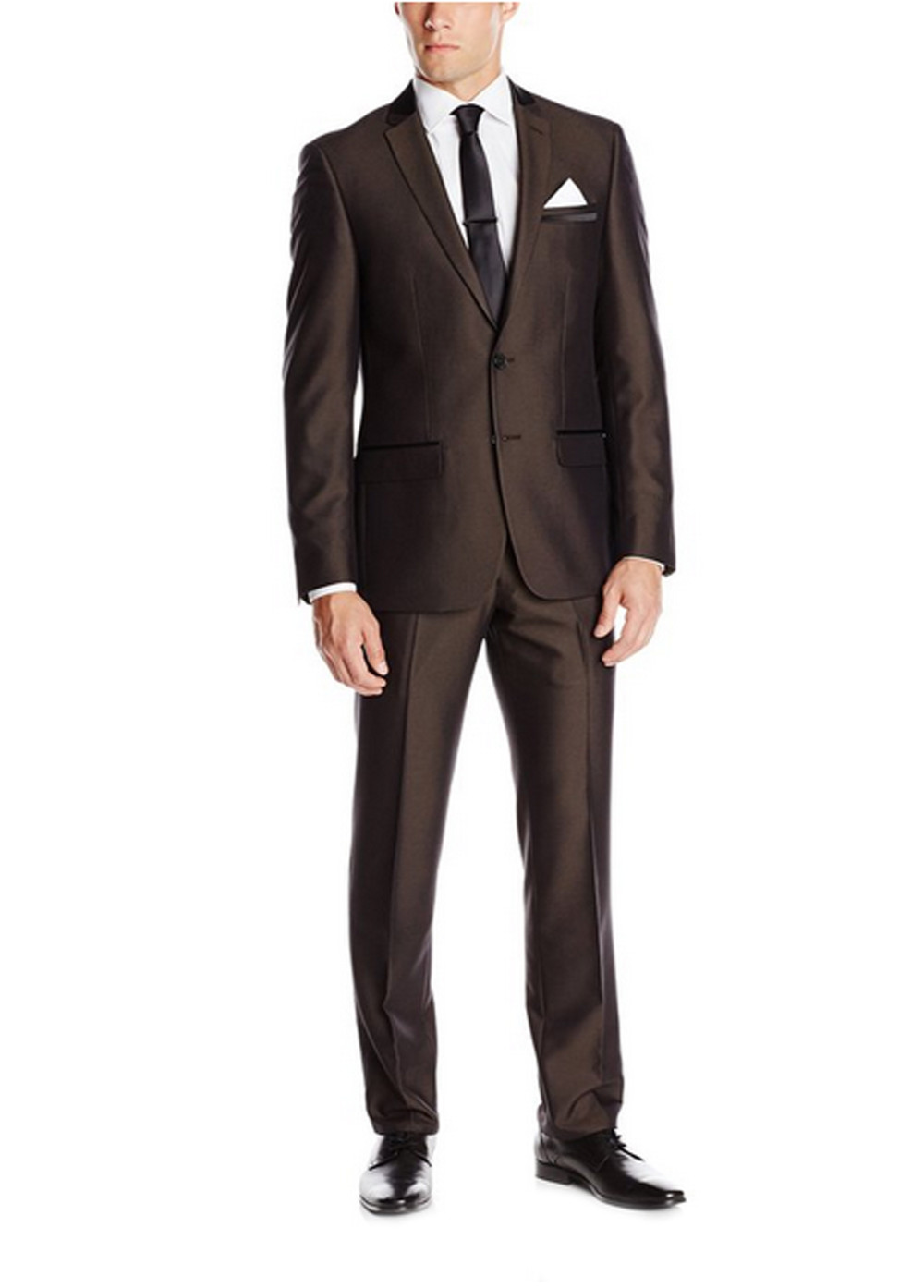 2017 Hot Simple Suits Men Dark Brown Wedding Suits Grooms Tuxedos Mens Suits Fit Groomsmen Suits (Jacket+Pant)