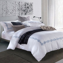 100% cotton White luxury embroidery bedding set,housse de couette,bed sheet bedclothesBedline,Duvet cover Pillowcase,King Queen