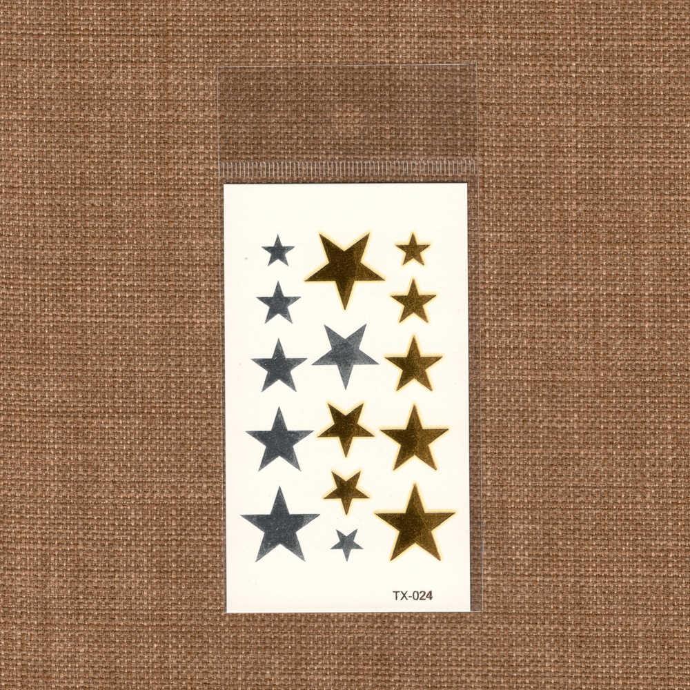 Temporary Fake estrela tattoo Metallic Gold Sliver Pentagram Waterproof Star pattern Stickers Water Transfer Sexy Body Art