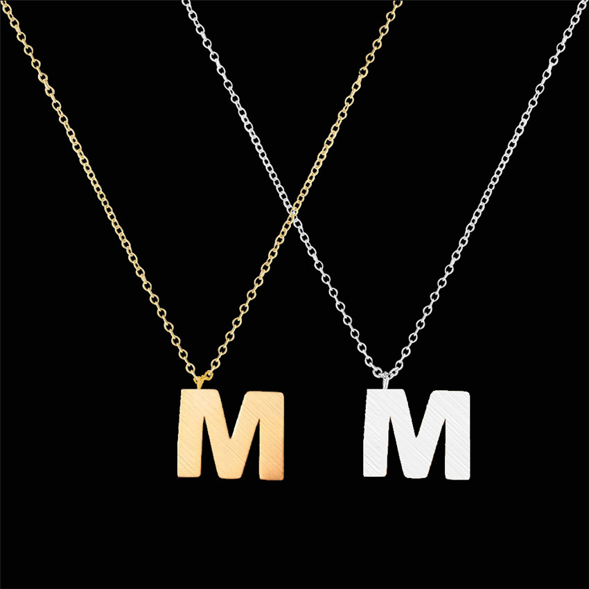 ACEBFEET 10Pcs Stainless Steel Initial M N O P Q R Letter Accessories Necklace Simple Alphabet Pendant Gold Color Jewelry
