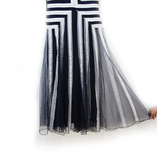 plus size dress xxxxl women mesh striped maxi dress chiffon long Patchwork tank dress summer TC19601010138
