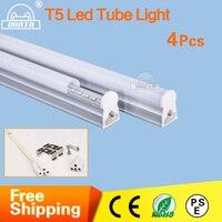 4 pçs/lote T5 LEVOU Tubo de Luz 600mm 1200mm 2ft/4ft tubos 10 W 18 W tubo da lâmpada Tampa leitosa Clara SMD integrado t5 CONDUZIU a iluminação TUBO