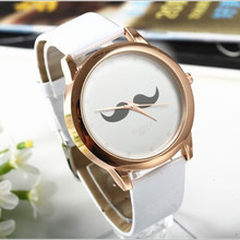 Women Cute Mustache Design Cartoon Watch Fashion Gold Watch Women Dress Quartz Wrist Watch Lady Girl Clock Hour relogio feminino