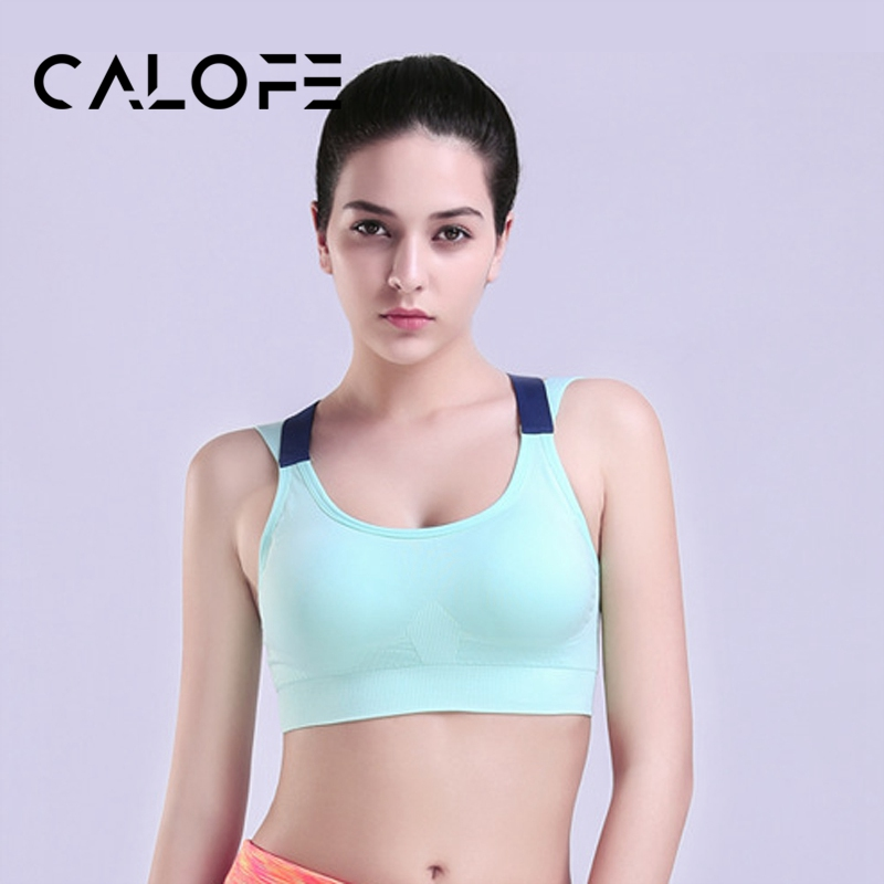 CALOFE Women Sports Bras Cross Women Sports Top Tank Fit Soft Yoga Top Brassiere Sport Female Push Up Stitching Sexy Belt Bras