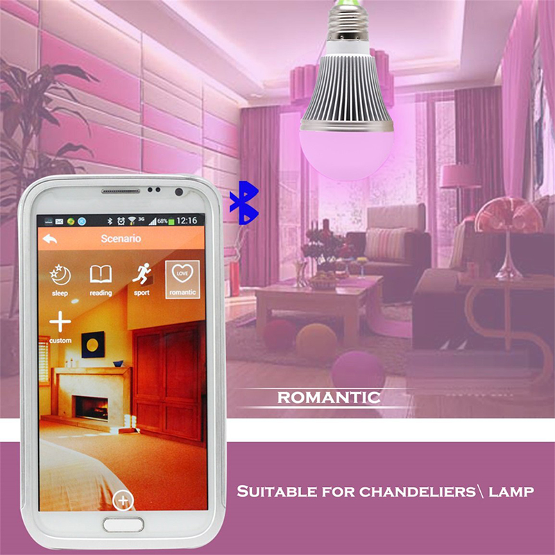 oobest E27 LED Bluetooth Light Bulb for Cell Phone APP Control Smart Bulb Colorful Bulb Light Ampoule Bluetooth e27 app remote control professional bluetooth smart led bulb intelligent colorful flashing round head music lamp led night light