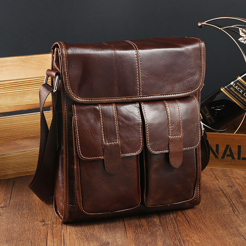 Work bag Oil Wax Cowhide Real Leather Men's Shoulder Bag Briefcases Cover Type Small Cover Satchel Men's Business Portfolio File все цены