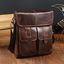Work bag Oil Wax Cowhide Real Leather Men's Shoulder Bag Briefcases Cover Type Small Cover Satchel Men's Business Portfolio File