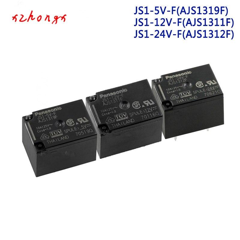 JS1-5V-F AJS1319F AJS1319 JS1-5V JS1-12V-F AJS1311F JS1-12V AJS1311 JS1-24V-F AJS1312F JS1-24V AJS1312 5PINS 10A Power Relay