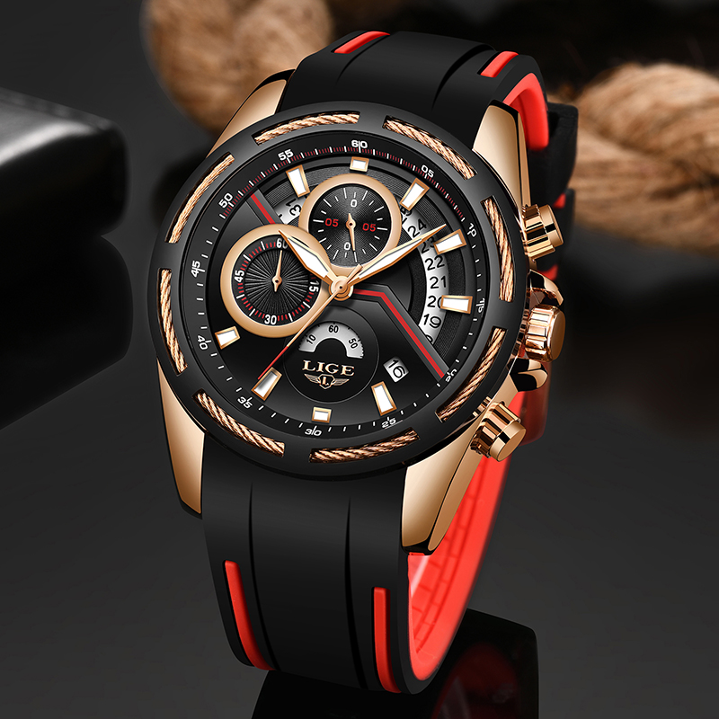 Relogio Masculino 2019 LIGE Mens Watches Silicone Strap Top Brand Luxury Waterproof Sport Chronograph Gold Quartz Wristwatch+Box 1