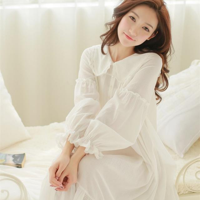 Flojo ocasional de Las Mujeres ropa de Dormir de Algodón de Manga Larga Camisón Largo Dama Blanca cuello Redondo ropa de Dormir Señora Sweet Home dress Plus Size