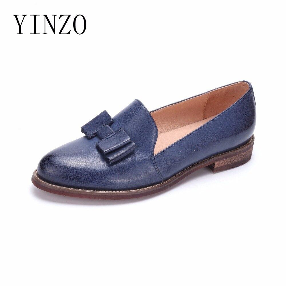 Zapatos de mujer de cuero genuino YINZO marca Vintage zapatos planos de punta redonda hechos a mano oxford zapatos para mujer slip on mocasines-in Zapatos planos de mujer from zapatos    1