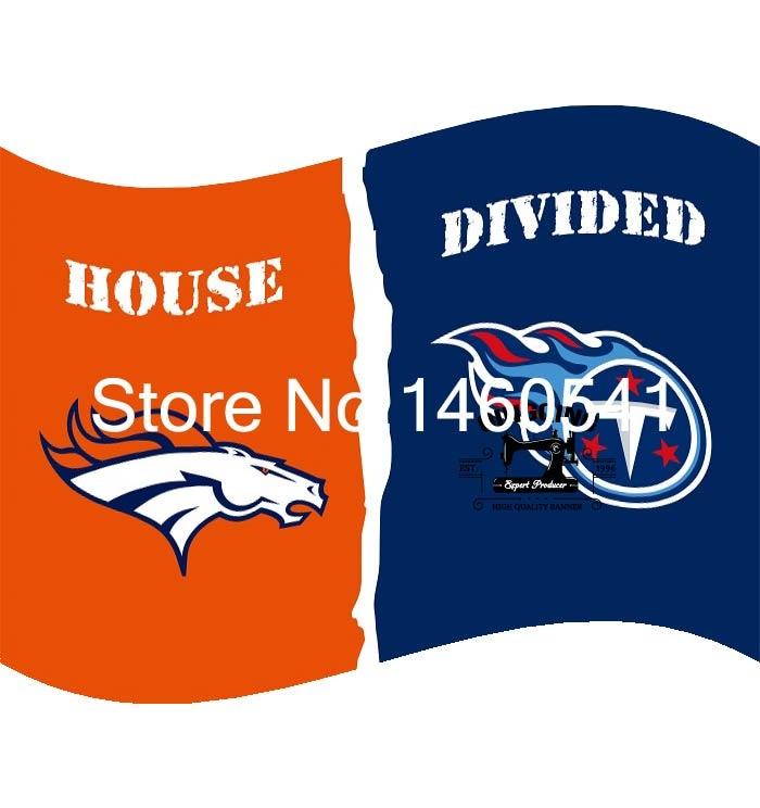 Denver Broncos Tennessee Titans House Divided Flag 3ft X