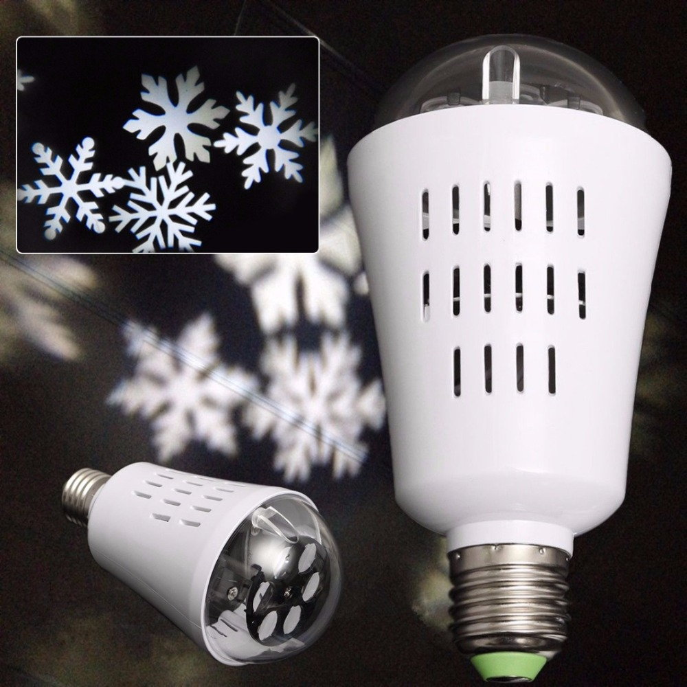 Snowflake Projector Lamp Bulb Christmas Patterns <font><b>Lighting</b></font> Sparkling Waterproof Spotlights Garden Tree Wall Decoration Holiday