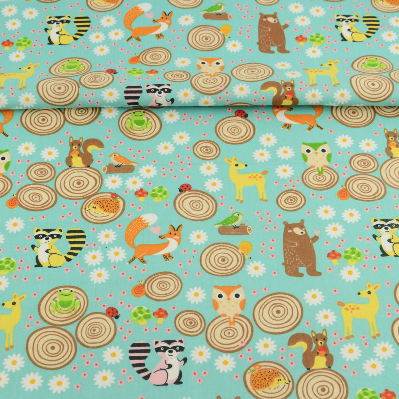 100% Cotton Fabric Cute Flowers and Animals Theme Fat Quarter for Sewing Dolls Clothing Toys Kids Bedding Curtain Quilting Dress