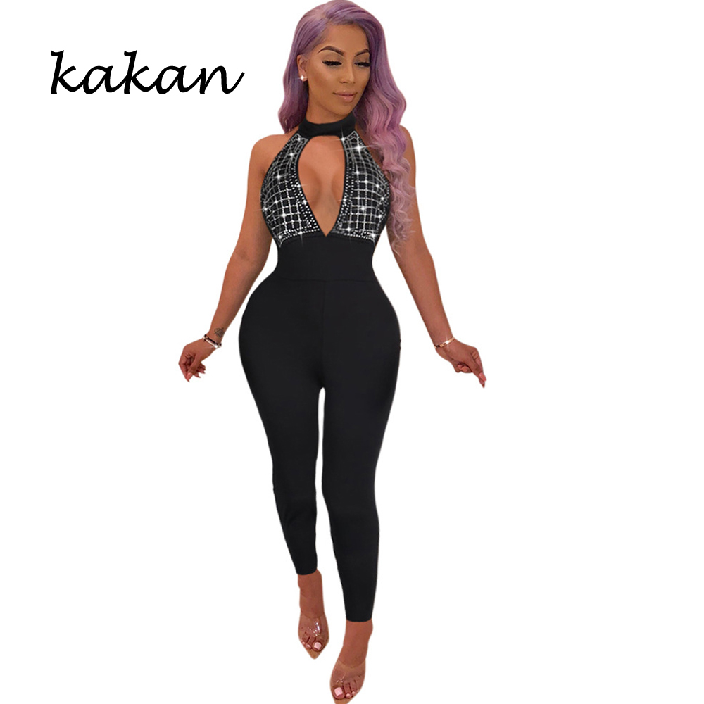 Kakan 2019 spring new womens tights sexy perspective diamond inlaid bodysuit wine red black jumpsuit