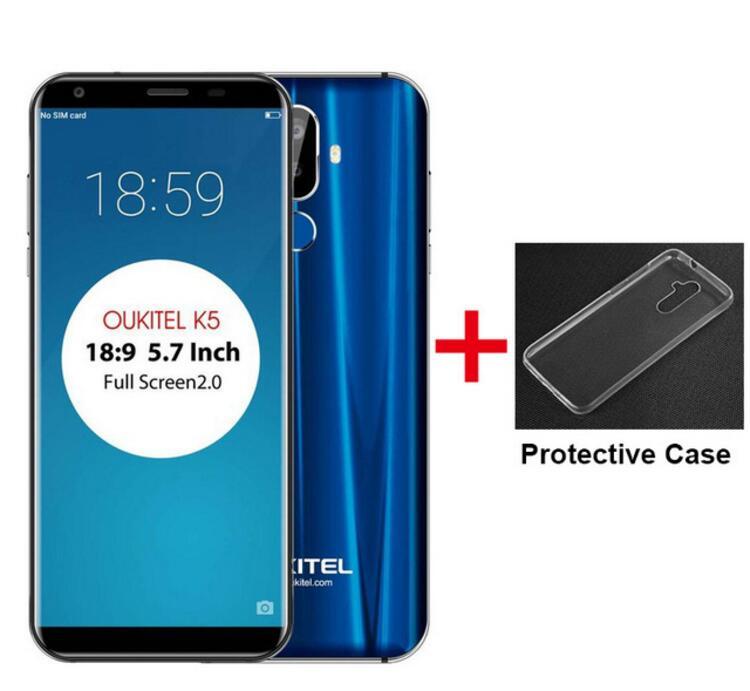 Флэш-продажи Oukitel K5 4000 мАч 4G MTK6737T Quad-Core мобильный телефон 5,7 HD 18:9 2 ГБ Оперативная память 16 ГБ Встроенная память Android 7,0 две задних камеры OTG