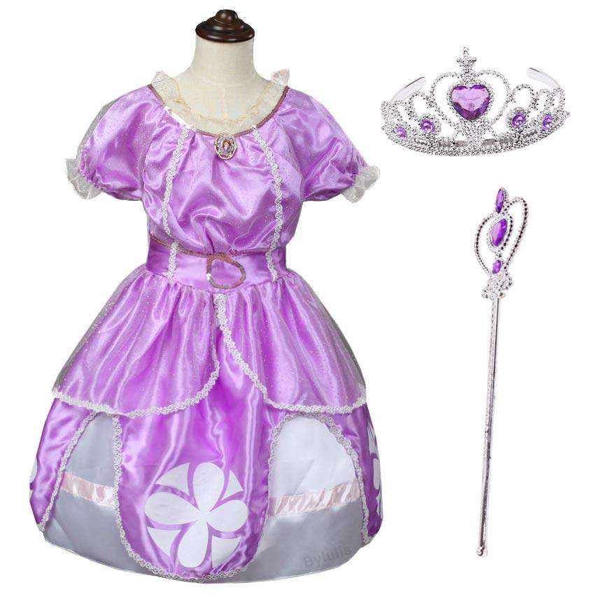 Sofia Princess Dress Kids Cosplay Costumes Girls New Arrival: Kids Girls Princess Sofia Dress Purple Girl Summer Sophia
