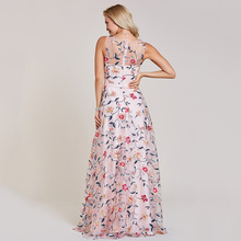 فستان سهرة أنيق بدون أكمام مزين بالتل المطرز بالورود