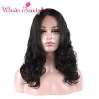וונדר יופי קטף מראש מלא תחרת אדם פאות שיער שחורה נשים פאות תחרה מלאה glueless שיער רמי מלזי גוף גל ללא