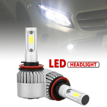 2pcs H11 H9 H8 S2 72W 8000LM 6000K White Light Car Auto LED Headlight Bulbs Hi or Lo Beam Head Lamp for Cars Vehicles