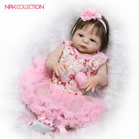 NPKCOLLECTION new design baby doll with Pink suit full vinyl body real soft touch doll beautiful girl popular gift for children
