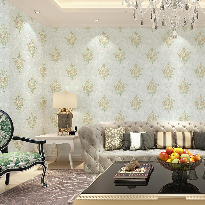 ФОТО  SWP16-032-1-1 3D Non-woven Fabric Flower Romantic Floral Wallpaper for Bedroom Living Room Girls Room Desktop Mural Home