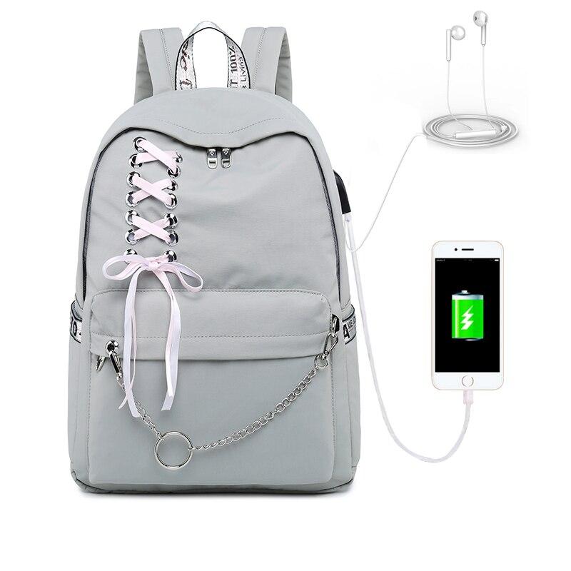 Image 3 - WINNER 2019 New Waterproof Women Backpack USB Charging Printing School Laptop Knapsack Female Travel Daily Mochila Bolsas Kawai-in Backpacks from Luggage & Bags