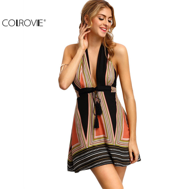 COLROVIE Vintage Backless Halter Women Dresses Summer Sexy Ladies Multicolor Plunge V-neck Tassel Tie A Line Mini Dress