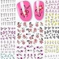 2017 Belleza 12 hojas flor diseño Nail Art Sticker Tips Nail Art Wraps de Transferencia de Agua Del Clavo de DIY Accesorios A469-480