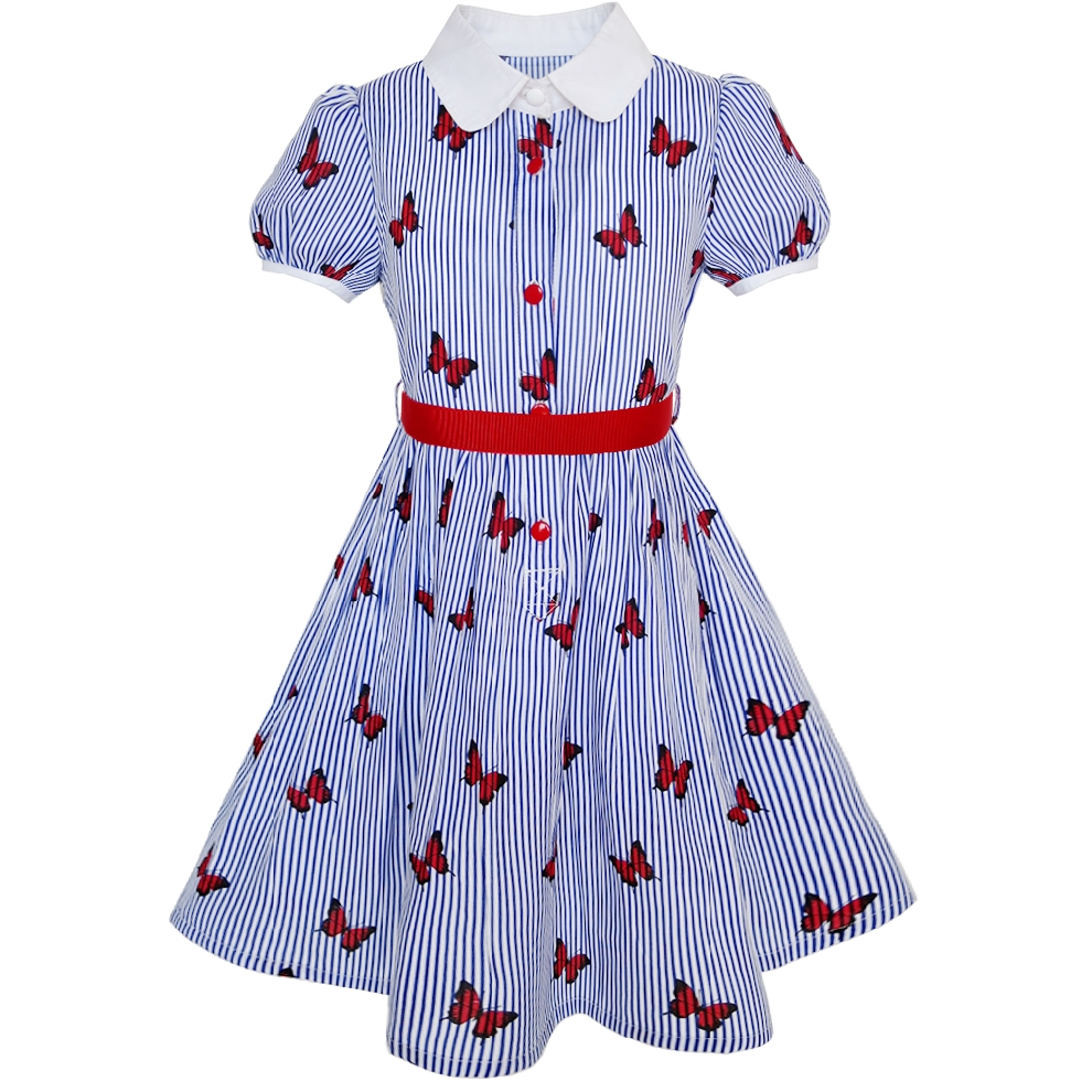 09075f47e Girls Dress School Uniform Blue Strip Butterfly Gingham Cotton 2019 ...