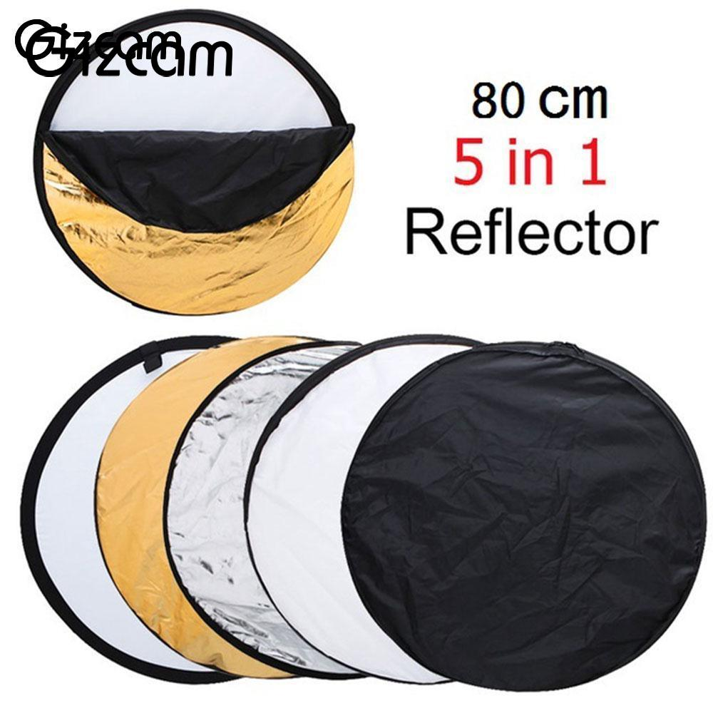 Gizcam New Round 80cm 5 in 1 Photo Studio Collapsible Flex Light Reflector Panel Portable Background Photograph Accessories Gift qzsd 80cm portable photography reflector studio accessory