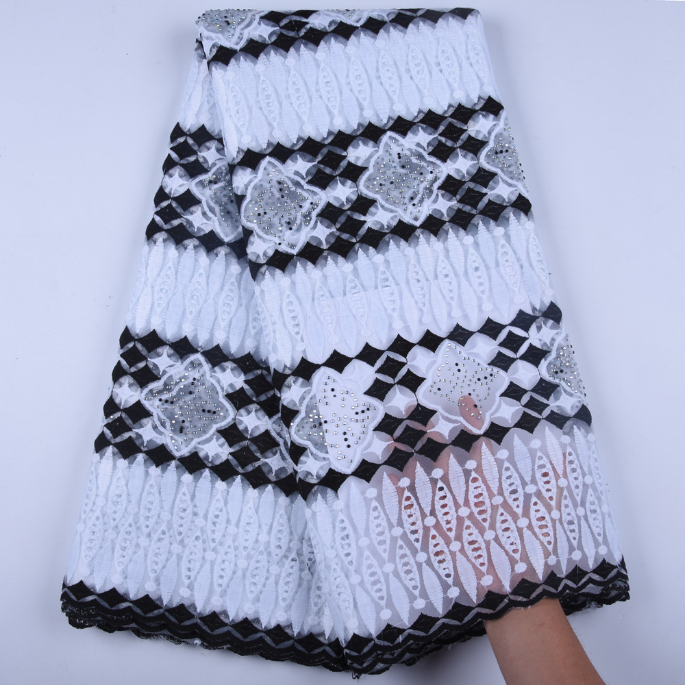 African Laces Embroidered Nigerian Laces Fabric High Quality White Black French Mesh Lace Fabric 5 Yards