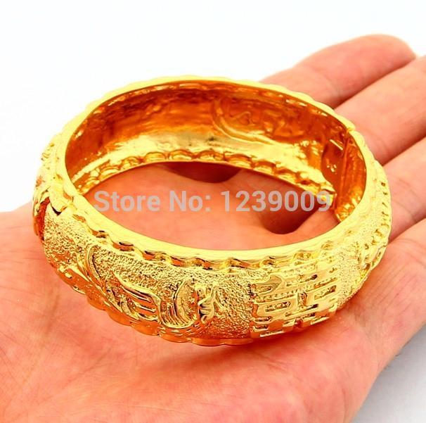 e0af8510c Promotion Price Fashion Jewelry 24K Gold Plated Chinese Meaning Happiness  Bangle Bracelet For Women Wedding Jewelry SJB009-in Bangles from Jewelry ...