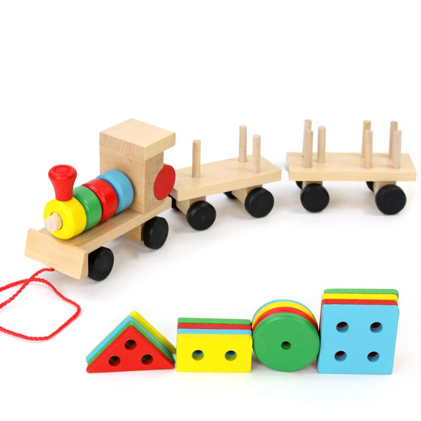 Small Wooden Train And Dragging Three Carriage Geometric Shape Matching Early Childhood Educational Diecasts Toy Vehicles