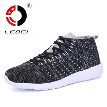 LEOCI Mid Cut Running Shoes Men Sneakers 2016 New Breathable Running Sneakers Flywire Sport Shoes Zapatillas Deportivas Hombre