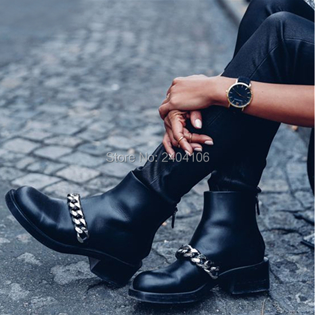 Fashion Zipper Women Booties Autumn Shoes Round Toe Low Chunky Heel Motorcycle Boot Black Leather Gold Silver Chain Ankle Boots chunky genuine leather shoes round toe british fall booties autumn women ankle boots 2016 high heel slip on suede chelsea black