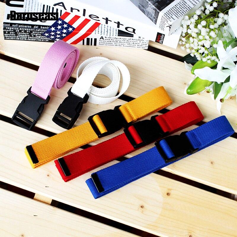 Trousers   Belt   nylon Canvas women's   belt   Plastic buckle Canvas Harajuku Solid Color Elastic Korean Style Tactical   belt