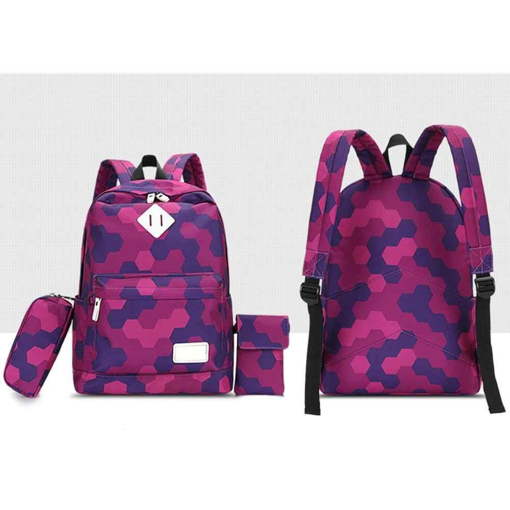 Девочки 3 шт. набор рюкзак повседневный консервативный стиль дорожные рюкзаки школьная сумка для младших школьников школьные сумки школьный ранец