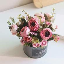 Artificial Flowers Potted Delicate Silk Hand Made Bud With Iron Flower Pot Silk Fake Flowers For Wedding Home Garden Decoration artificial hand made flowers