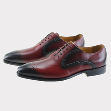 2017 Genuine Leather Pointed Toe Lace Up Burgundy Men Shoes Handmade Wedding Party Formal Oxfords Office Dress Man Suit Footwear