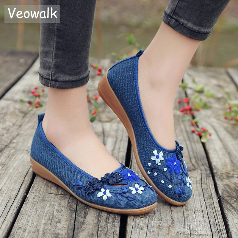 Veowalk פשתן נשים אפליקציות פרחי 3D מותג להחליק על דירות בלט בלרינה בד נושם גבירותיי מקרית נעליים סיניות
