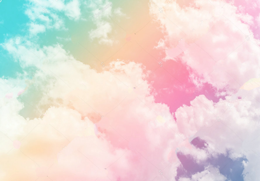 rainbow cloud sun pastel colored backdrop polyester or Vinyl cloth High quality Computer print wall Background