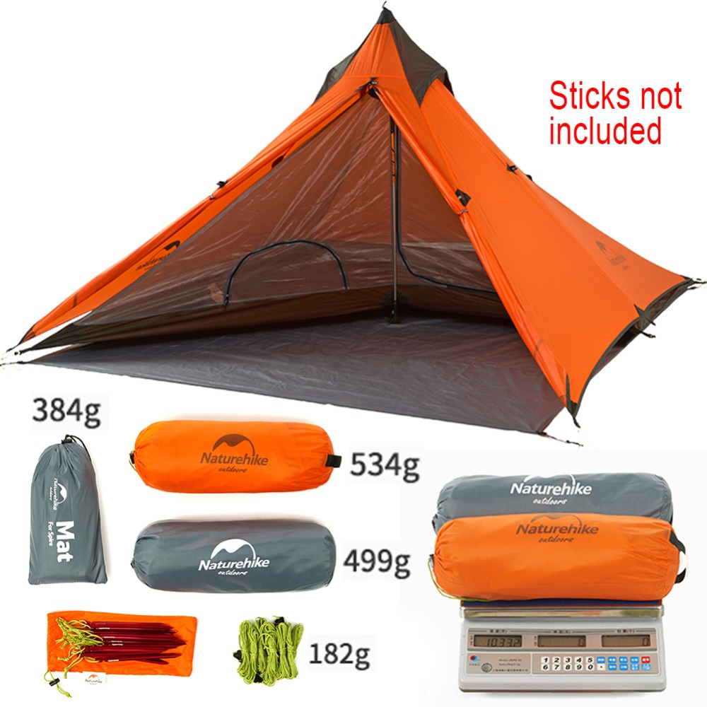 Naturehike Camping Tent Single Person None Pole Tarp Tent Ultralight Pyramid Outdoor Hiking Tents Teepee