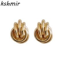 Fashion simple wide round metal earrings 2018 Geometric statement modern new women pendant jewelry wholesale