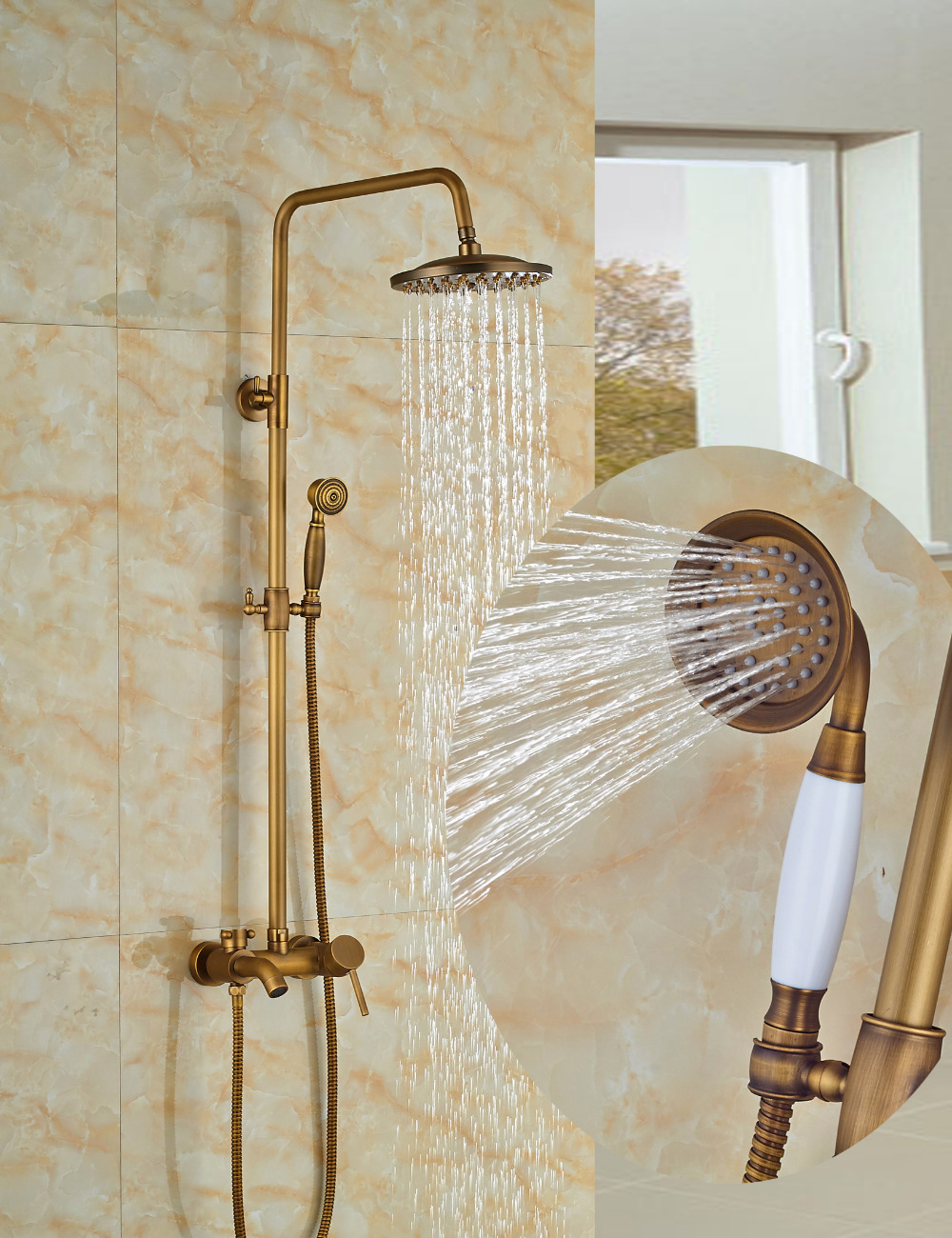 Wholesale And Retail Antique Brass Tub Spout Valve 8 Round Rain Shower Faucet w/ Hand Held Shower Mixer Tap Wall Mounted