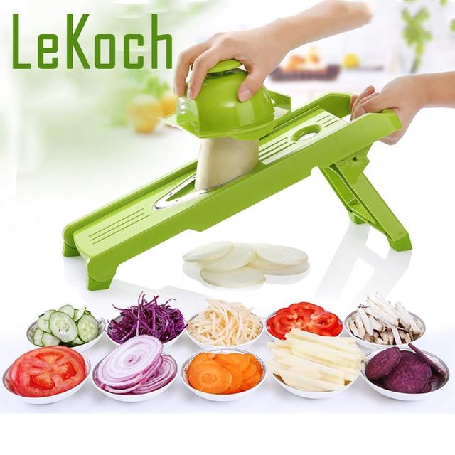 LEKOCH V-Type Mandoline Slicer Vegetable Grater Fruit Cutter 5 Interchangable Blade Kitchen Tool Plastic Grater