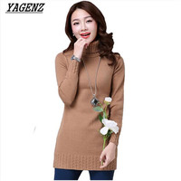 YAGENZ 2017 High Quality Women Sweater Autumn Winter Slim Long Turtleneck Pullover Warm Women Knitted Solid
