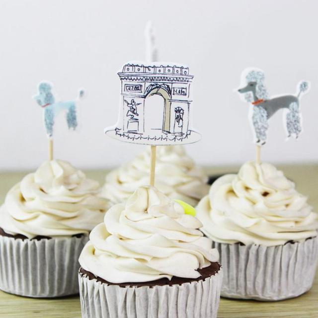 24pcs Paris Eiffel Tower Element Party Cupcake Toppers Pick Cakes ...